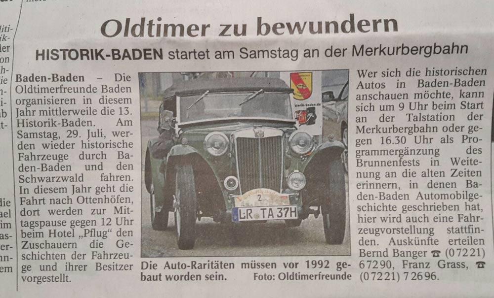 HISTORIK Baden Treffen